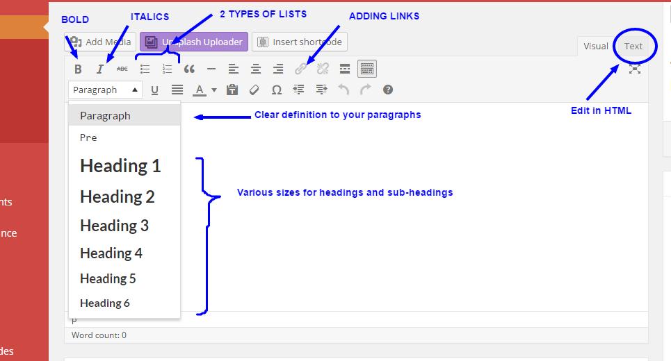 formatting wordpress posts using visual editor
