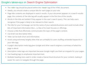 SEO Guidelines - Google takeaways