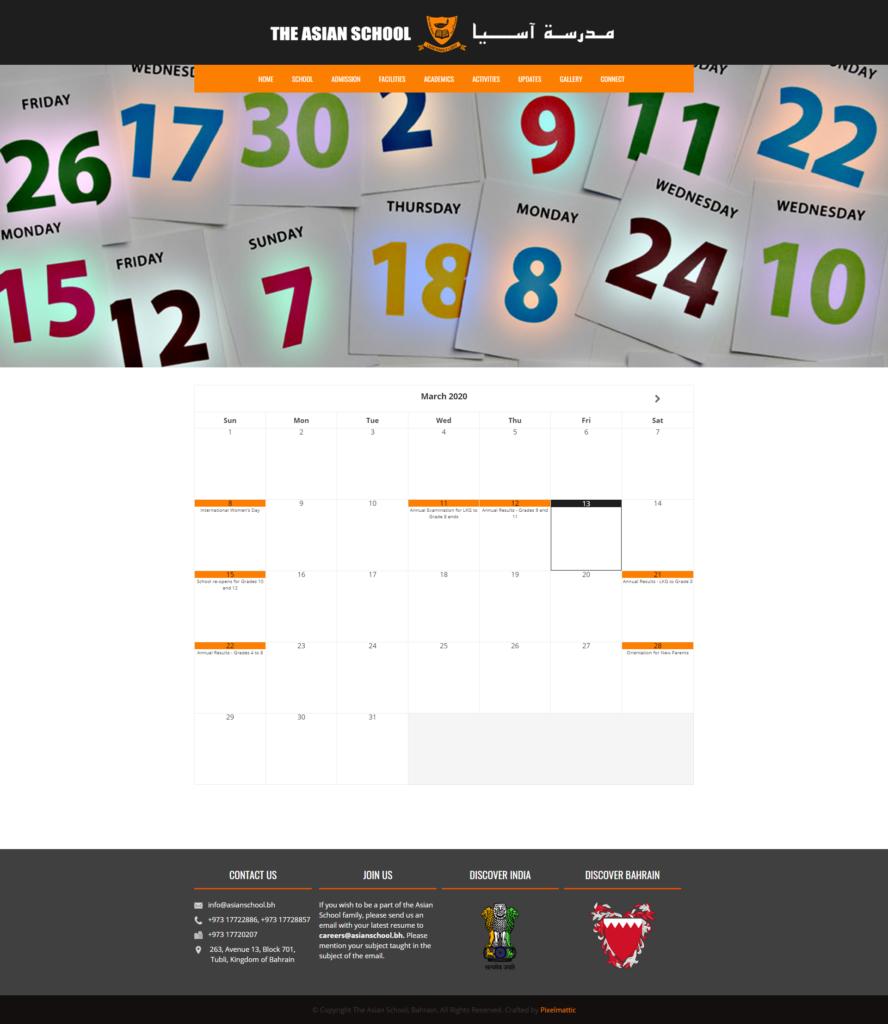 School Calendar « The Asian School Bahrain