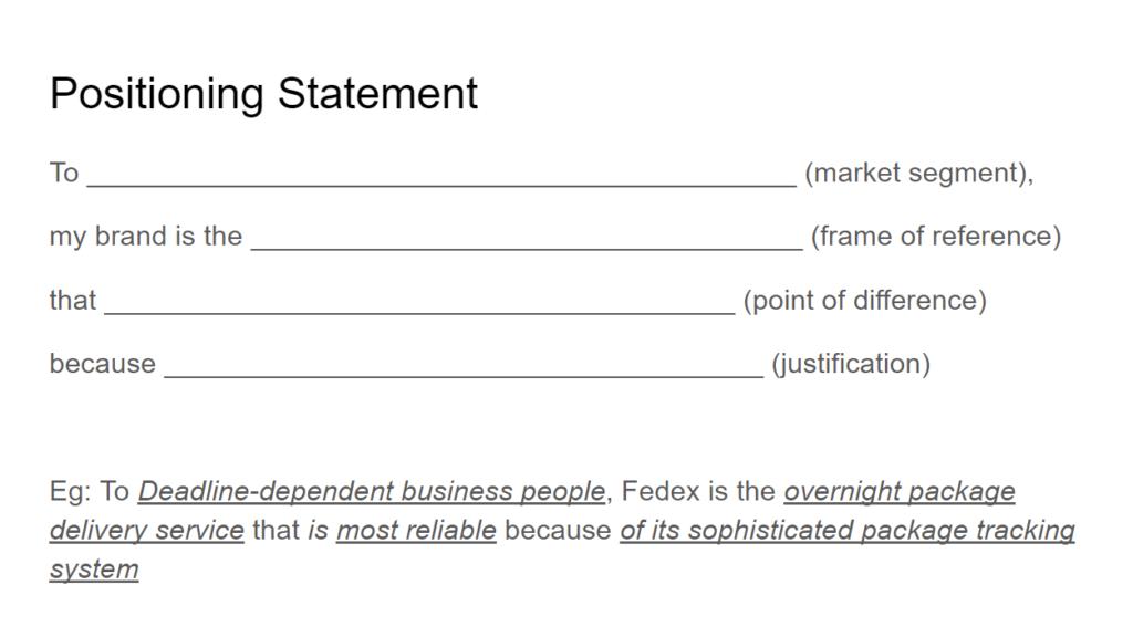 positioning statement framework