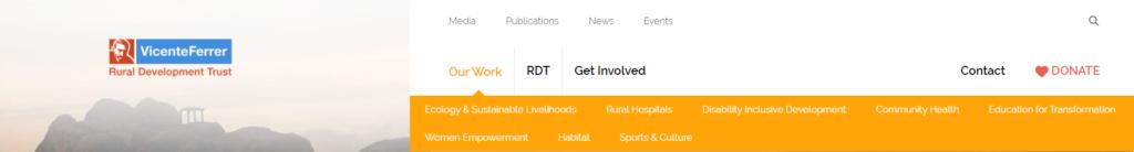 Rural Development Trust redesign navigation menu