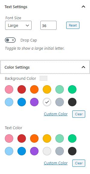 Gutenberg Block Editor Text Formatting Options