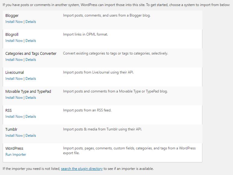 WordPress Features - Content Importer Tool