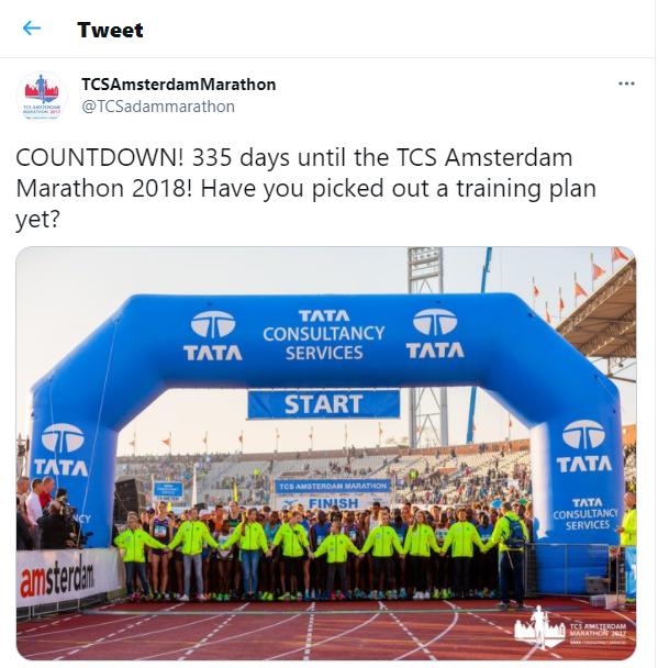 Tweet by TCS on Marathon